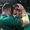 Props Cian Healy and Mike Ross, who were crucial to Ireland's dominance in the scrum, congratulate each other on a job well done