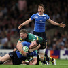 Eoin Reddan appeals to referee Romain Poite as Cian Healy is brought to ground by Chris Ashton