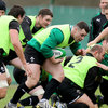 Cian Healy, one of Ireland's try scorers in Cardiff, carries the ball forward from the base of a ruck