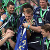 Forwards Cian Healy and Jamie Heaslip enjoy a light-hearted celebration as their team-mates look on