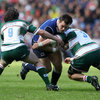 Leinster prop Cian Healy makes the hard yards under pressure from Leicester's Julien Dupuy and Martin Castrogiovanni
