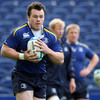 Prop Cian Healy takes the ball on during Tuesday's training session at the RDS