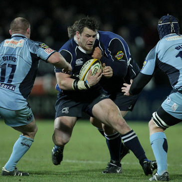 Leinster prop Cian Healy takes the ball on against the Blues