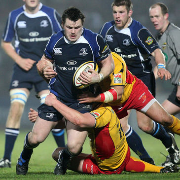 Cian Healy leads the Leinster charge against the Dragons