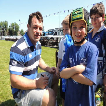 Cian Healy with some of the kids at the Summer Camp in Terenure