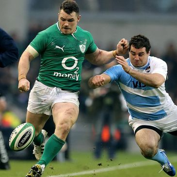 Cian Healy in action for Ireland against Argentina