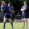 Rocky Elsom watches on as Cian Healy lifts his fellow front rower CJ Van Der Linde