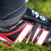 A view of Cian Healy's right boot which displays his nickname 'Church' and a shamrock on the tongue