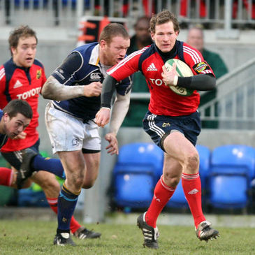 Ciaran O'Boyle makes a break for Munster 'A' against Leinster 'A'