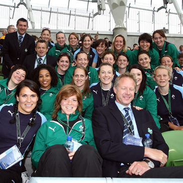 Claire and her Ireland team-mates at the Aviva Stadium