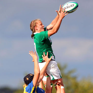 Claire Molloy claims a lineout ball againsy Kazakhstan