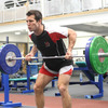 Australian full-back Clinton Schifcofske takes part in Tuesday's weights session at UUJ