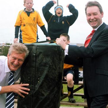 Clondalkin RFC President Winston Jebb makes the first tackle