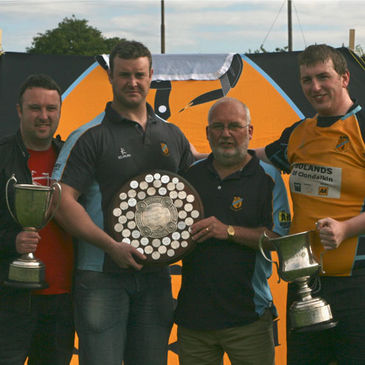 Clondalkin RFC President Terry Woodhead is pictured with the club's recent spoils