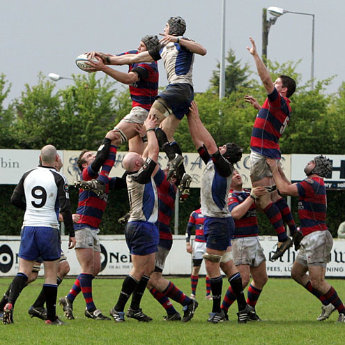 Lineout action from the Cork Constitution v Clontarf clash last April