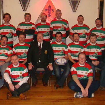 Bective FC President Fergus Flanagan and some of the players