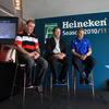 Brian McLaughlin, Tony McGahan and Joe Schmidt watch a video previewing this season's Heineken Cup action