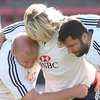 Welsh hooker Richard Hibbard's blonde locks hide his face as the Lions front rowers work on their scrummaging on the eve of the final Test