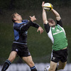 Connacht replacement Conor O'Loughlin leaps up to claim a high ball, with Glasgow's Colin Shaw close by