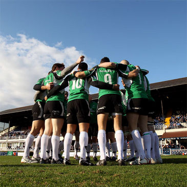 The Connacht team huddles together