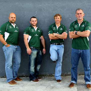 Connacht coach Eric Elwood with members of his backroom team