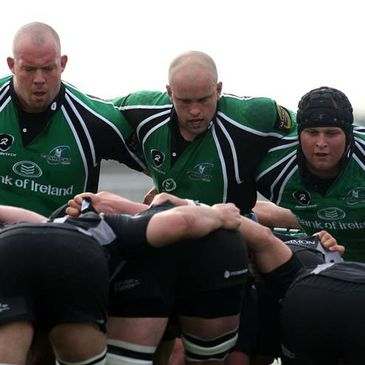 The Connacht front row of Robbie Morris, Adrian Flavin and Brett Wilkinson