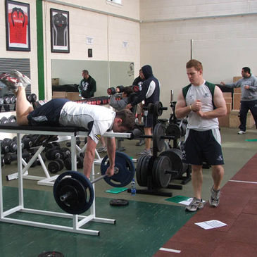 The Connacht players using their new gym