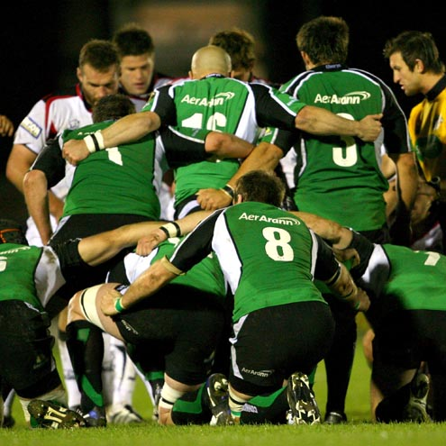 Connacht's forwards get set for a scrum