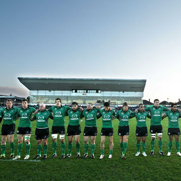 The Connacht players line up at the Sportsground
