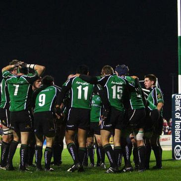 The Connacht team huddle together