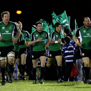 The Connacht players take to the pitch at the Sportsground