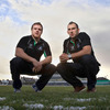 Sean Cronin and John Muldoon, two of Connacht's current internationals, are pictured after the announcement at the Sportsground