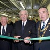 IRFU President John Lyons cuts the ribbon to open the new Connacht gym, alongside Connacht Rugby President Mick Grealish and Padraig Conneely, the Mayor of Galway