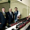 Connacht team captain John Muldoon shows IRFU President John Lyons and Galway Mayor Padraig Conneely around the new gym