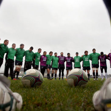 The Connacht players huddle together
