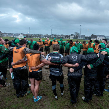 The Connacht players huddle together in Galway