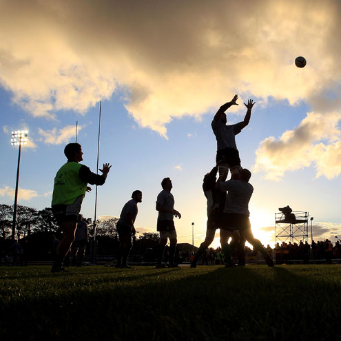 The Connacht players warming up at the Sportsground