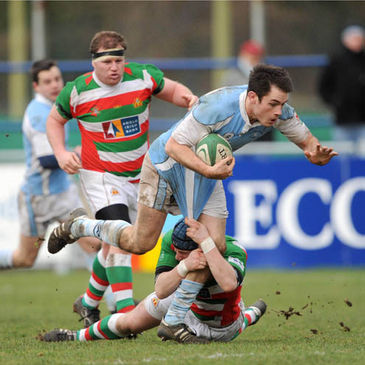 Garryowen flanker Conor Hartigan on the charge