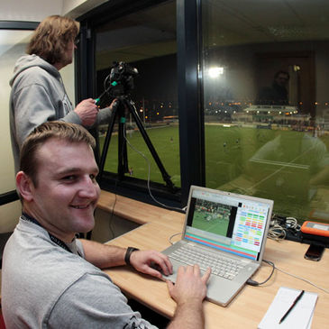 Connacht's video analyst Conor McPhillips in action