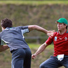 Young scrum half Conor Murray tries to get away from defence coach Les Kiss during a training exercise in New Plymouth