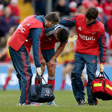 Conor Murray is tended to by the Munster medics