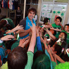 Conor Murray, who now has four Ireland caps, is mobbed by the Selwyn Primary School pupils as he hands out some more IRFU goodies