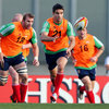 Conor Murray, who could make his Test debut as replacement scrum half on Saturday, throws a pass during a training game