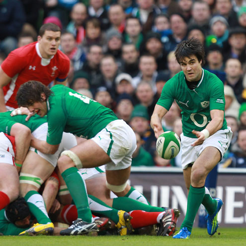 Ireland's Conor Murray clears the ball away from a ruck