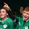 Ireland fans Conor Ward and Paul Dawson followed the action closely from the comfort of the Malahide RFC club grounds