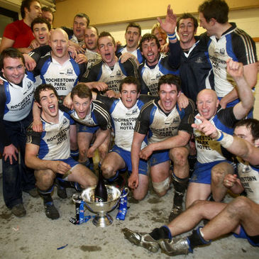 Cork Constitution celebrate in the dressing room afterwards