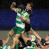 Leinster flanker Rhys Ruddock competes for a lineout ball with Benetton Treviso's Corniel Van Zyl