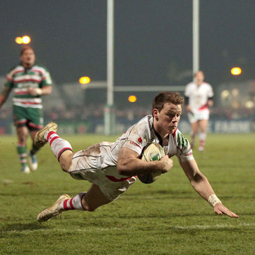 Craig Gilroy dives over to score a try against Leicester Tigers