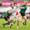 Ulster's young winger Craig Gilroy, who has scored eight league tries this season, tries to get past Connacht's Gavin Duffy and Fionn Carr