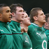 Debutant winger Craig Gilroy is pictured during the anthems, lining up alongside Simon Zebo, Peter O'Mahony and Chris Henry